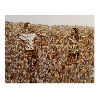 Field of tulips coffee & ink sketch postcard