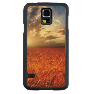 Field of wheat and sunset carved maple galaxy s5 case