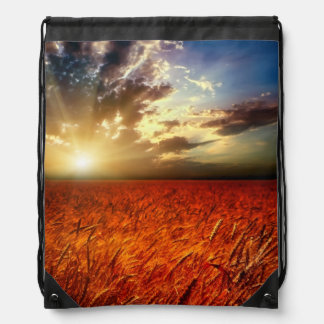 Field of wheat and sunset drawstring bag