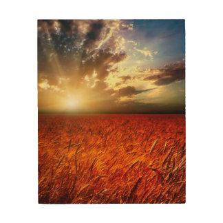 Field of wheat and sunset wood wall art