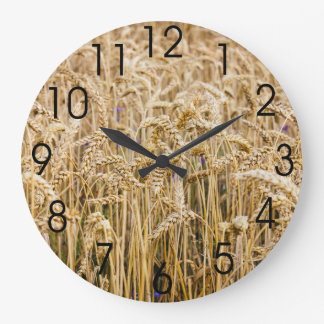 Field Of Wheat, Golden Grains Large Clock