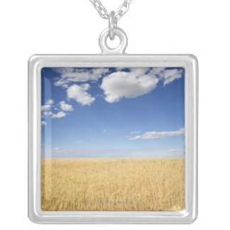 Field of wheat silver plated necklace