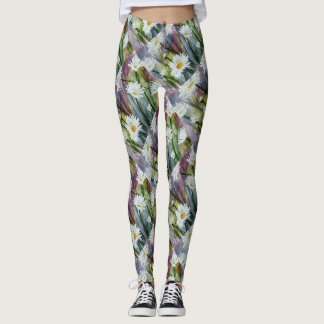 FIELD OF WHITE DAISIES | FLORAL LEGGINGS