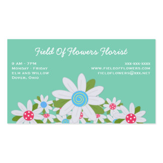 Field of White Daisies on Turquoise Florist Pack Of Standard Business Cards