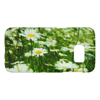 Field of White Wild Daisies Abstract