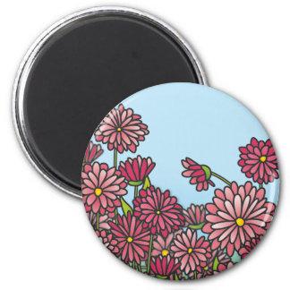Field of yellow Chrysanthemum flowers Cork Coaster 6 Cm Round Magnet