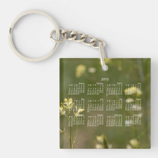 Field of Yellow Flowers; 2013 Calendar Single-Sided Square Acrylic Key Ring