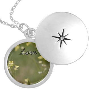 Field of Yellow Flowers; Customizable Round Locket Necklace