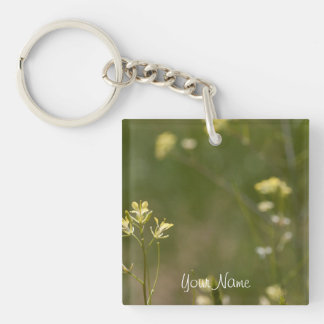 Field of Yellow Flowers; Customizable Single-Sided Square Acrylic Key Ring