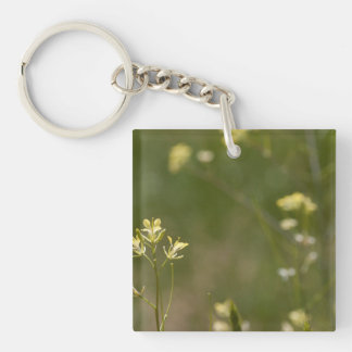 Field of Yellow Flowers Single-Sided Square Acrylic Key Ring