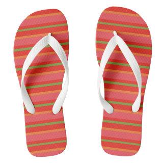 Field Poppy Colours Snazzy Stripes Pattern Flip Flops