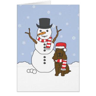 Field Spaniel and Snowman Card