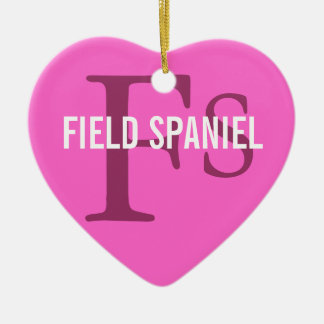 Field Spaniel Breed Monogram Ceramic Heart Decoration