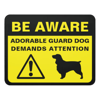 Field Spaniel Silhouette Funny Guard Dog Warning Door Sign