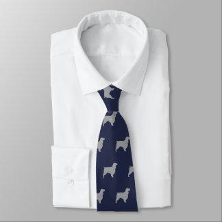 Field Spaniel Silhouettes Pattern Blue Tie
