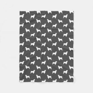 Field Spaniel Silhouettes Pattern Grey Fleece Blanket