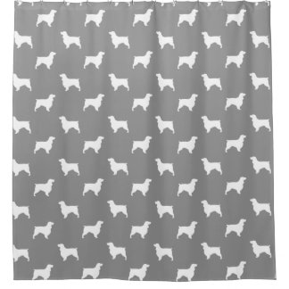 Field Spaniel Silhouettes Pattern Grey Shower Curtain