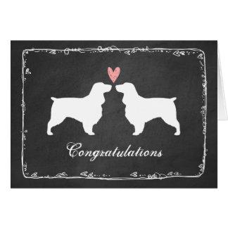 Field Spaniel Silhouettes Wedding Congratulations Card