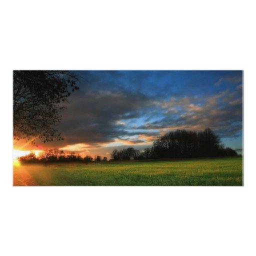 Field Sunset Personalized Photo Card