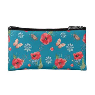 Field Wildflower Pattern on Blue Cosmetic Bags