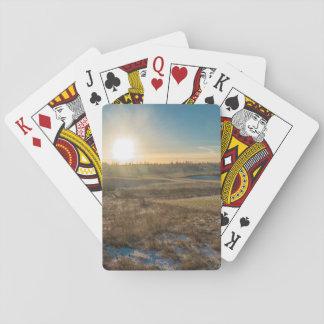 Field winter sunset poker deck