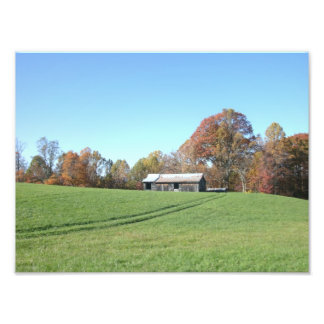 Field With Barn Art Photo