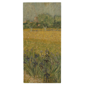 Field with Flowers Near Arles by Vincent Van Gogh Wood USB 2.0 Flash Drive