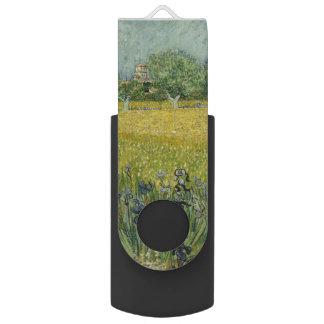 Field with Flowers Near Arles by Vincent Van Gogh Swivel USB 2.0 Flash Drive