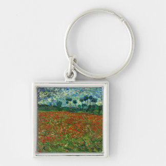 Field with Poppies by Van Gogh Fine Art Silver-Colored Square Key Ring