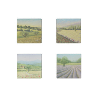 Fields in Pastel-Lavender, Poppies Marble Magnets