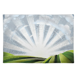 Fields Rolling Hills and Sun Engraved Etching Placemat