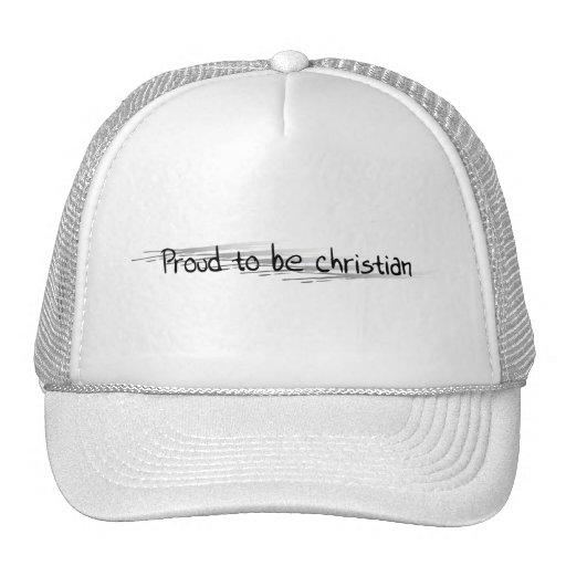 Fier d'être Chrétien noir sur ratures argent Trucker Hats