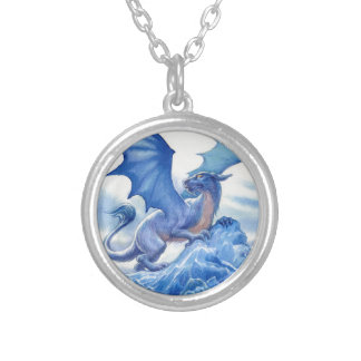 Fierce Blue Dragon Silver Plated Necklace