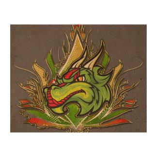 Fierce Dragon Flames Golden Metallic Photo Cork Paper