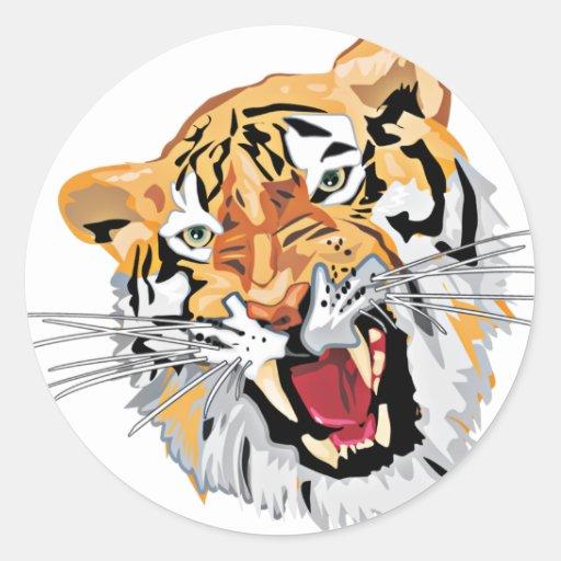 Fierce Growling Tiger Round Sticker