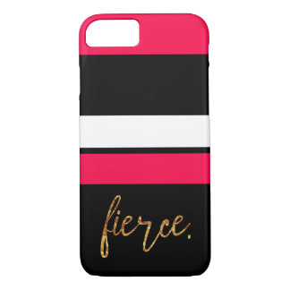 """Fierce"" hot pink and black striped case"