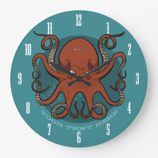 Fierce Red Octopus Tentacles Cartoon With Text Large Clock