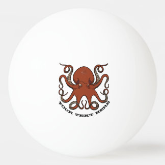 Fierce Red Octopus Tentacles Cartoon With Text Ping Pong Ball