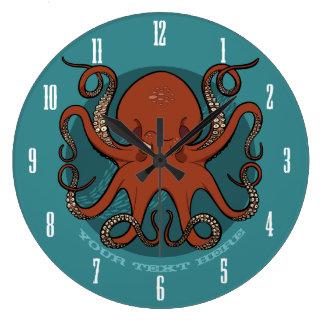 Fierce Red Octopus Tentacles Cartoon With Text Wallclocks