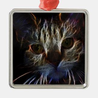 Fierce robotic cat christmas ornament