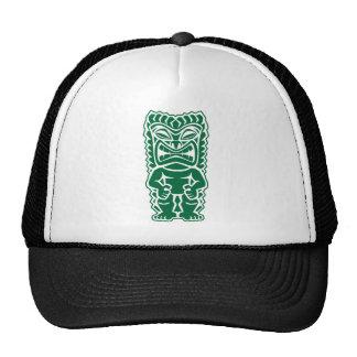 fierce tiki dark green warrior totem god tribal cap