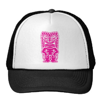 fierce tiki hot pink warrior tribal god cap