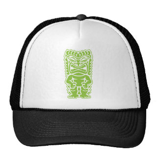 fierce tiki lime green warrior god tribal totem cap