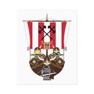 Fierce Vikings on Longship Canvas Stretched Canvas Print