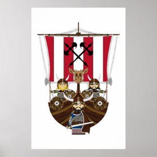 Fierce Vikings on Longship Poster