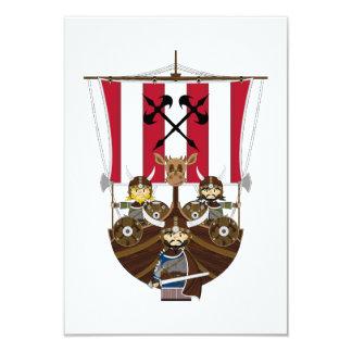 Fierce Vikings on Longship RSVP Card 9 Cm X 13 Cm Invitation Card