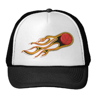 Fiery Basketball with Comet Tail Logo Cap