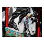 Fiery Carousel Horse Black White Postcard
