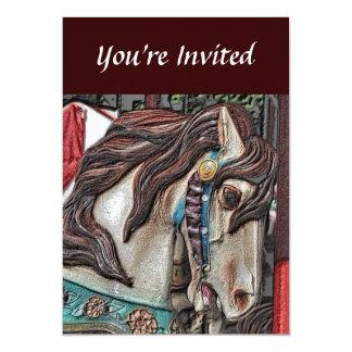 Fiery Carousel Horse Pencil Art Invitation