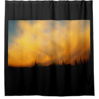 Fiery clouds shower curtain